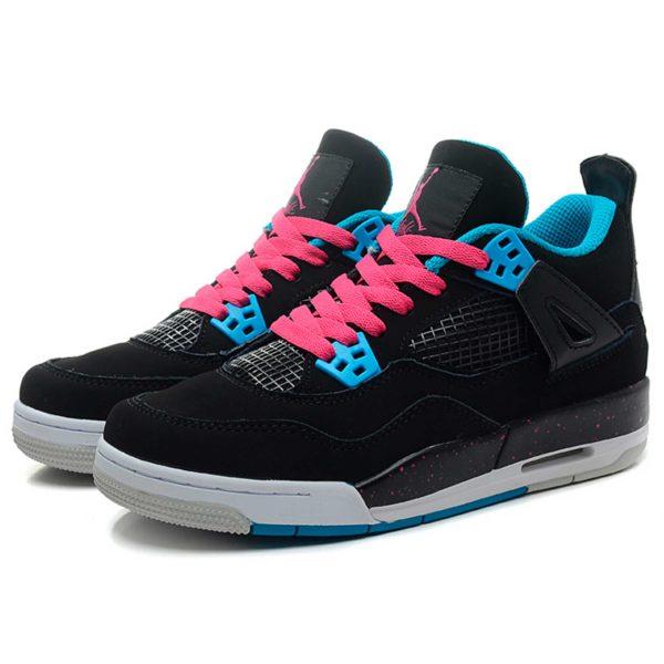nike air jordan 4 retro black dynamic blue pink 487724-019 интернет магазин