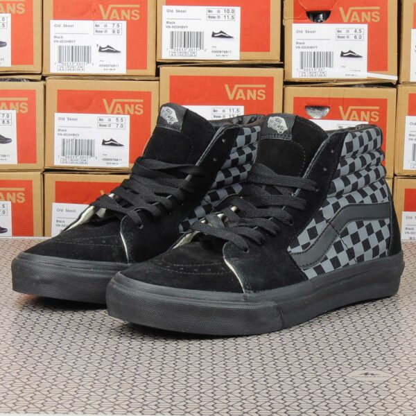 Vans Sk8-Hi Checkerboard Pewter Black Sole купить