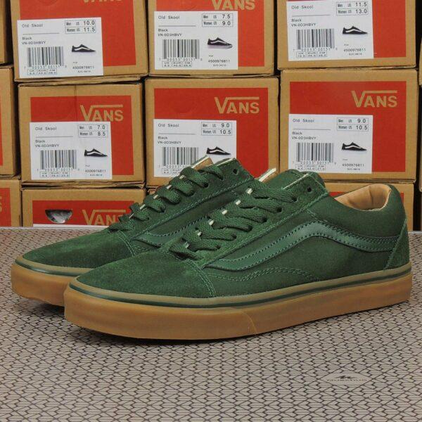 vans old skool green brown sole купить