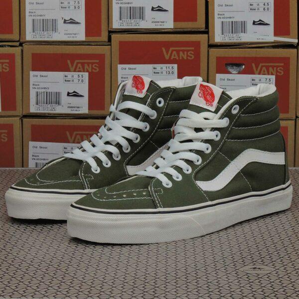 vans sk8-hi dark olive green white купить