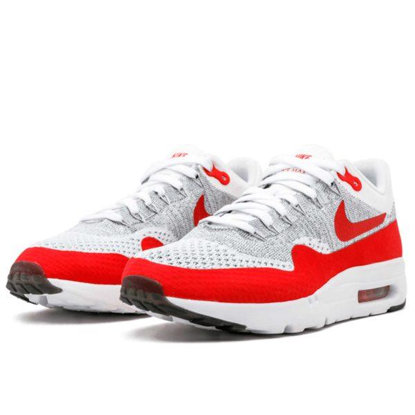 nike air max 1 87 ultra flyknit white red 843384 101 купить