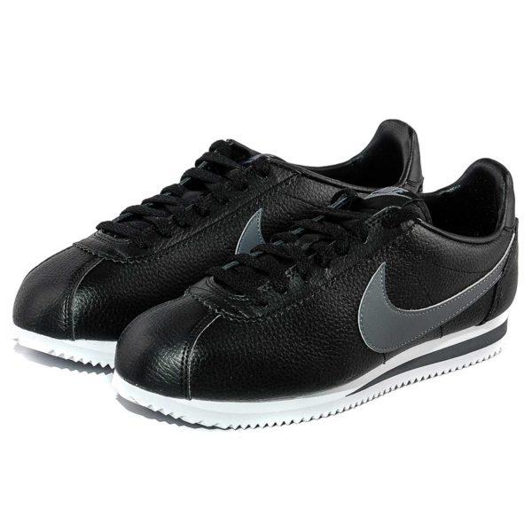 nike cortez leather triple black grey 749571_011 купить