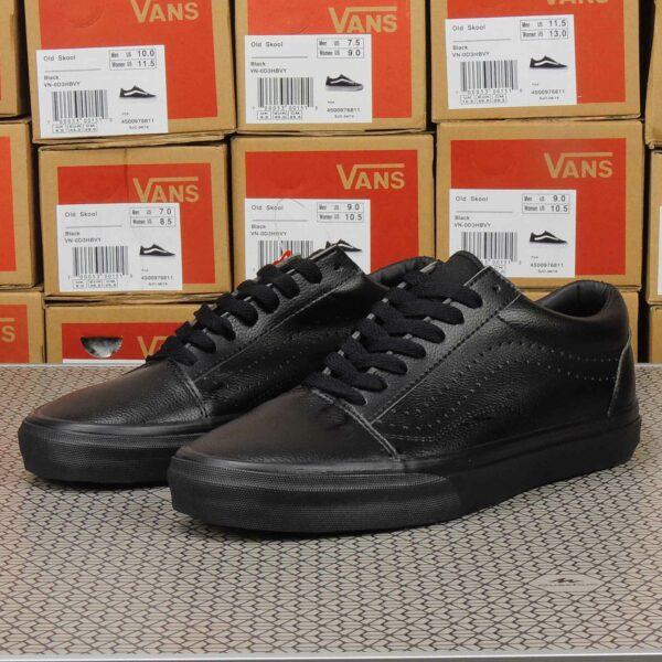 vans old skool all black leather купить