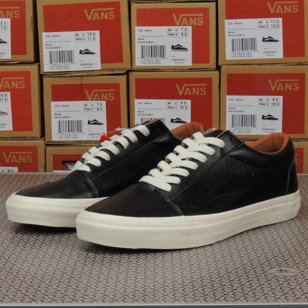 vans old skool black white leather купить