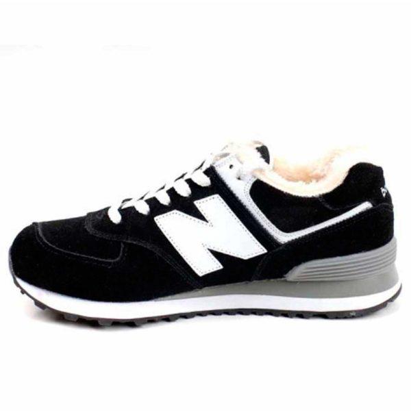 new balance 574 black white fur купить