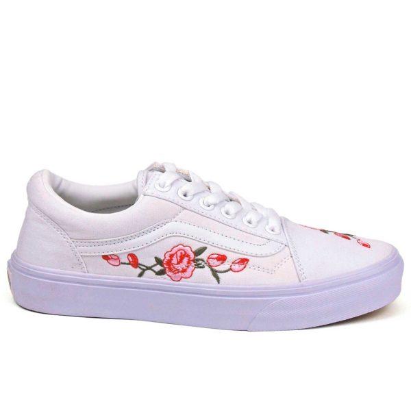 vans old skool all white rose купить