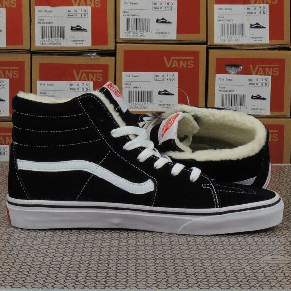 vans sk8-hi black white winter купить