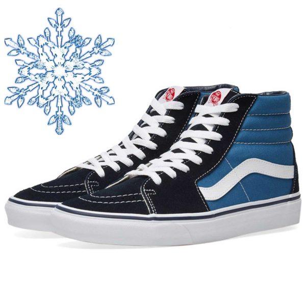 vans sk8-hi navy blue white sole winter купить