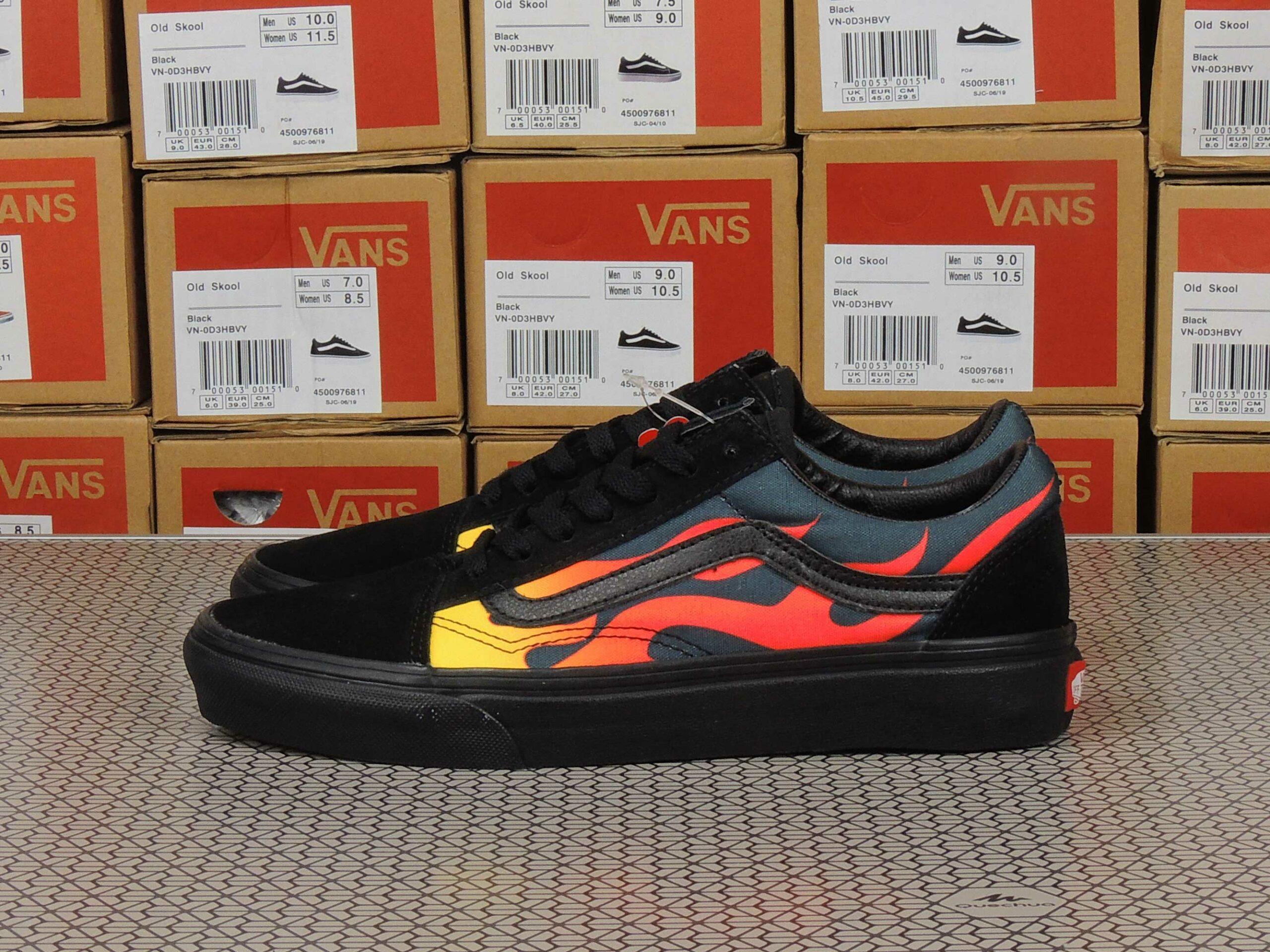 vans old skool black yellow flame