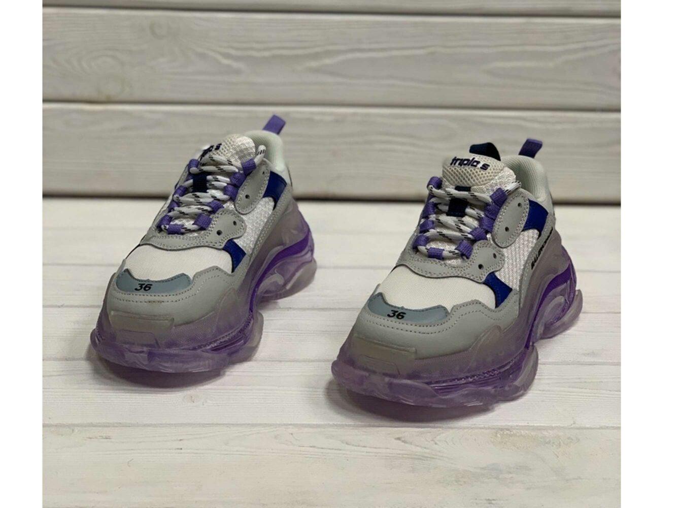 balenciaga triple s grey purple купить