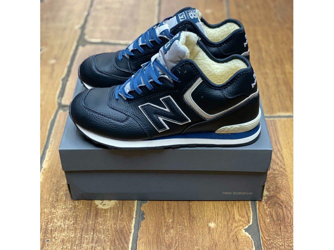 new balance 574 dark blue winter купить