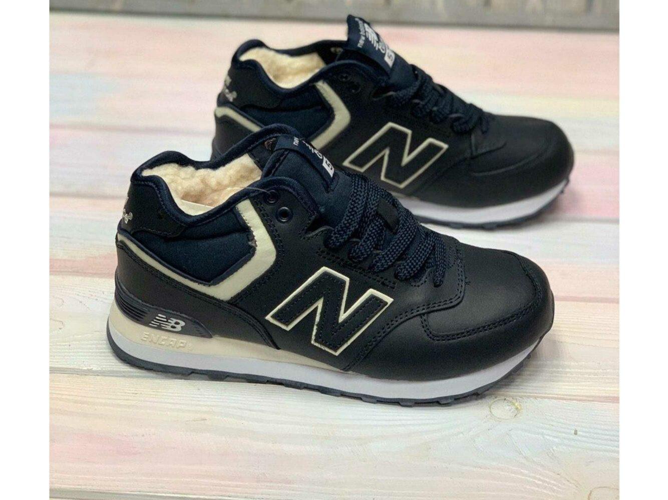new balance 574 leather dark blue winter купить