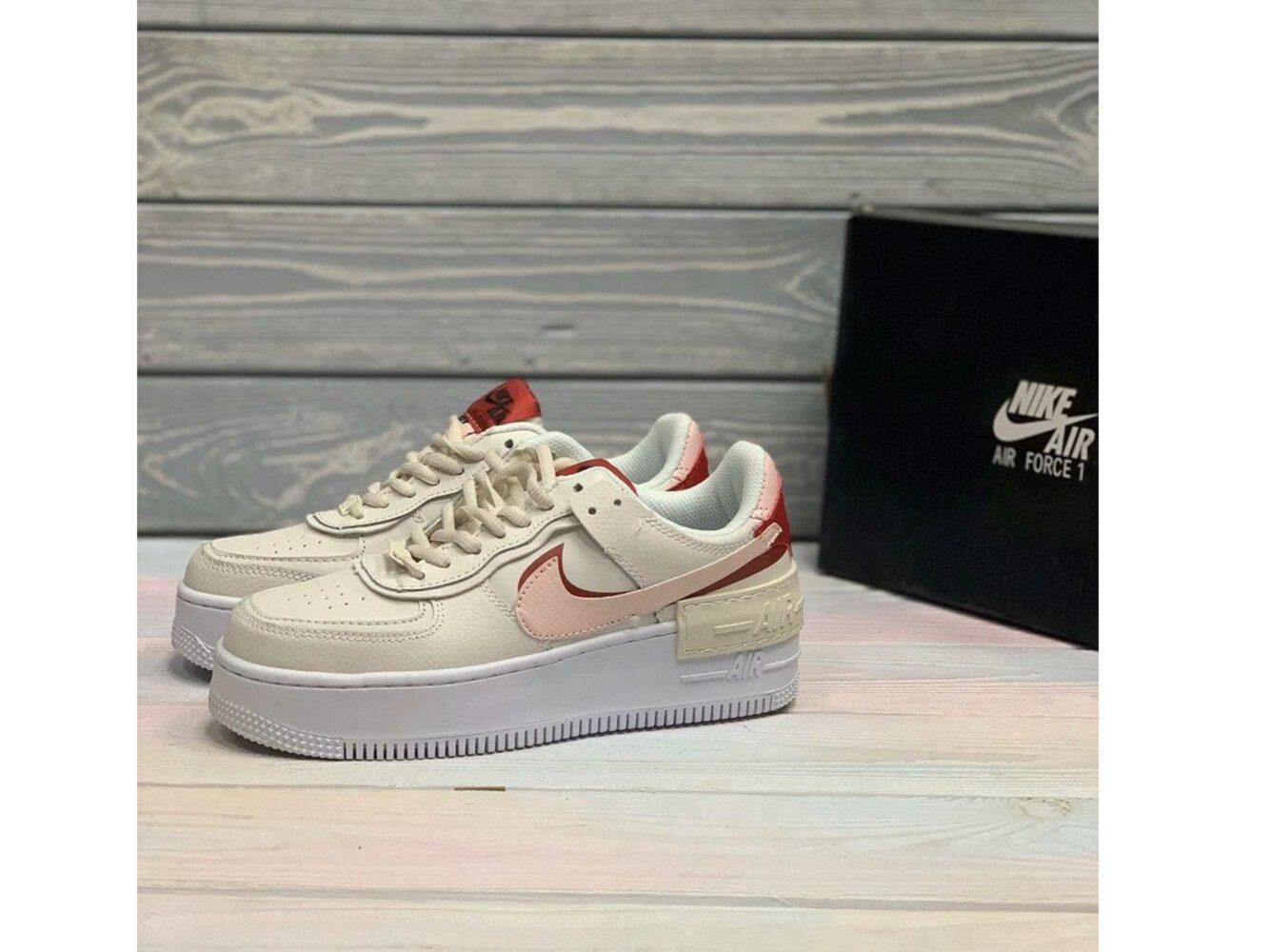 nike air force 1 beige red pink купить