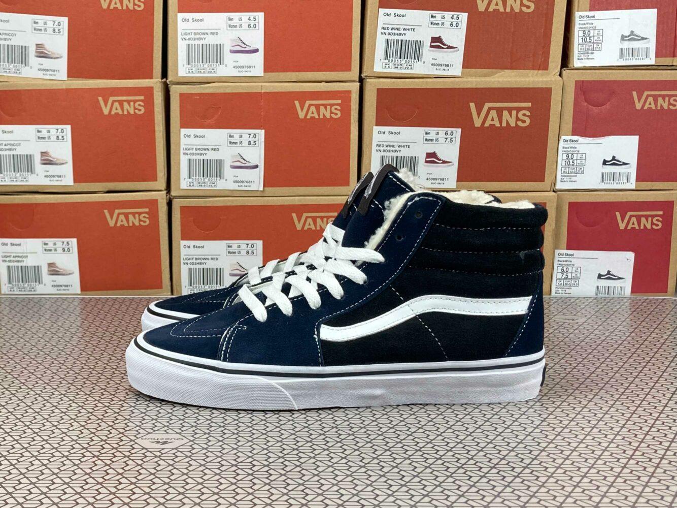 vans sk8-hi dark blue black winter купить
