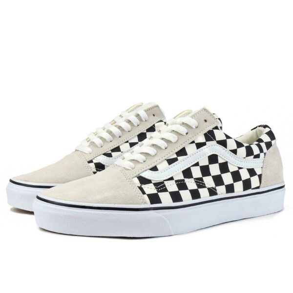 vans old skool beige white checkerboard купить