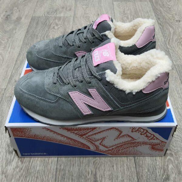 new balance 574 grey pink winter купить